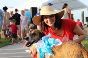 Lady with happy dog