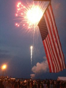 fireworks with American flag